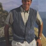 Серо-голубой жилет с узором зигзаг