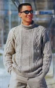Пуловер цвета беж с ирландским узором