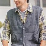 Мужской вязаный джинсовый жилет