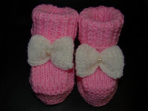Вязаные пинетки розовые   Вязание спицами и крючком – Азбука вязания 9c9f87f136a