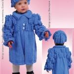 Комплект вязаные пальто и шапочка с шишечками