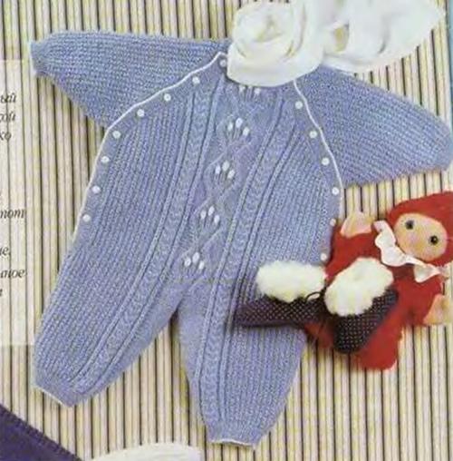 Видеоурок вязание спицами комбинезона для новорожденного - Master class