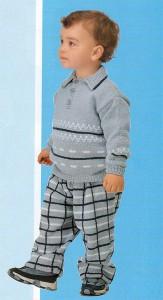 Пуловер поло и клетчатые штанишки