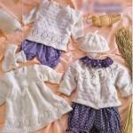 Белый гарнитур (жакет, пуловер, платье, шапочка, носочки, налобная повязка)
