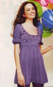 Сиреневое платье со стразами