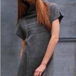 Платье-туника вязаные с воротником стойкой