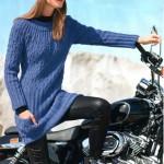 Длинный вязаный пуловер с кокеткой из ромбов