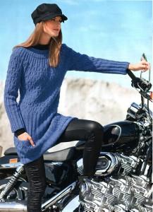 Длинный пуловер с кокеткой из ромбов
