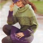 Удлиненный вязаный пуловер с широкими полосами