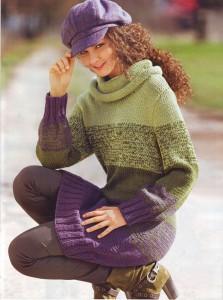 Удлиненный пуловер с широкими полосами