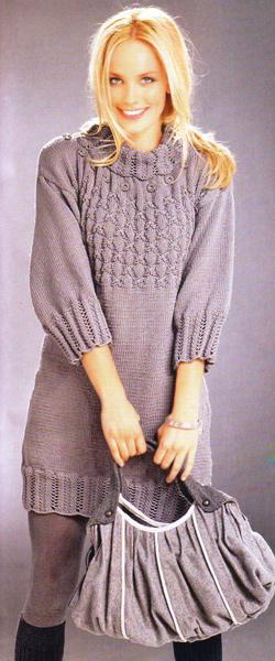 Узоры платья вязаного спицами от горловины