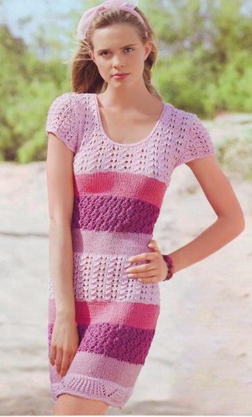 Вязаные розовые платья фото