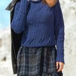Вязаный пуловер с погонами