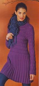 Туника с длинными рукавами с рельефным узором из фиолетовой пряжи