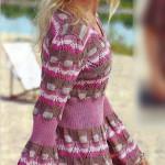 Приталенный пуловер вязаный с расклёшенными рукавами