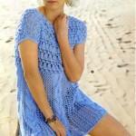 Мини-платье вязаное с узорной кокеткой