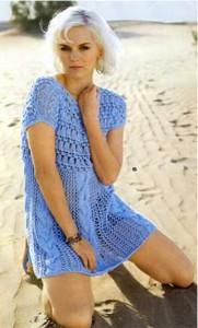 Мини-платье с узорной кокеткой