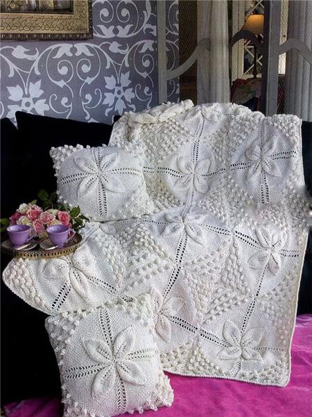 Вязаный плед и чехол для подушек   Вязание спицами и крючком