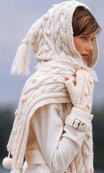 """Вязание.  Узорчатый шарф-капюшон.  Материал: Lana Grossa  """"Mega Stoppino..."""