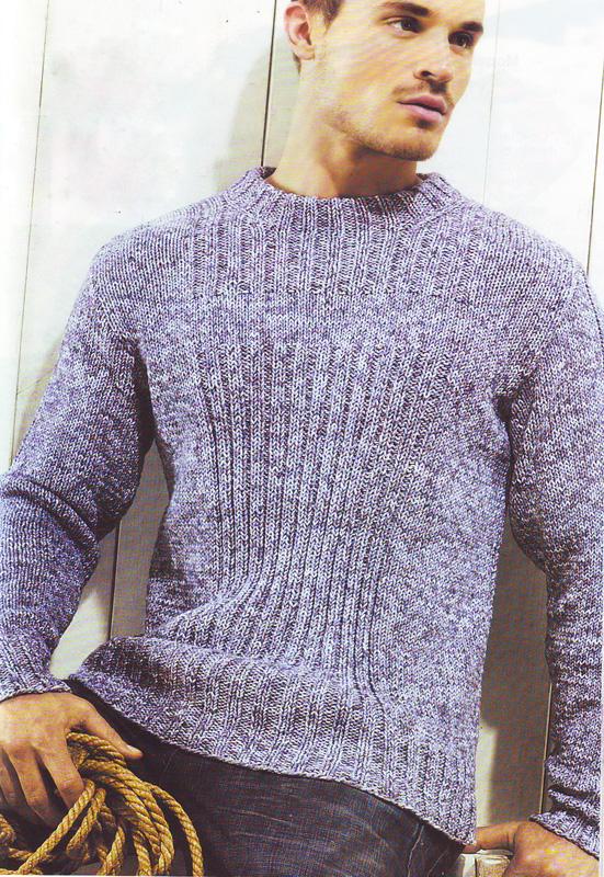 вязание спицами мужской свитер