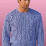 Вязаный мужской пуловер Морские узлы в резинку с косами