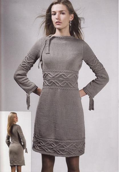Вязаные серые платья фото