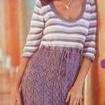 Платье с ажурной юбкой вязаное