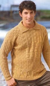 Узорчатый пуловер с отложным воротником