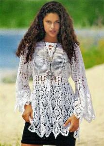 Женская белая туника - схема вязания