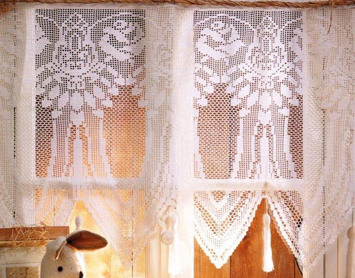 вязаные занавески домик в деревне вязание спицами и крючком
