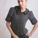 Женский вязаный черно-серый пуловер с галстуком