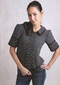 Вязаный черно-серый пуловер