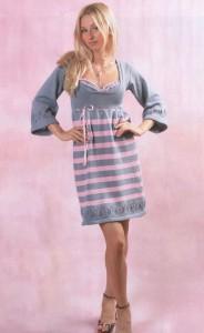 Серо-розовое платье