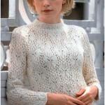 Женский белый вязаный пуловер с рисунком бабочки