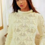 Белый вязаный пуловер с восхитительным узором