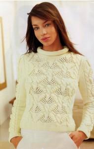 Белый пуловер с восхитительным узором