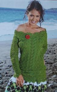 Летний зеленый вязаный пуловер