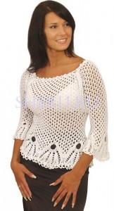 ажурный женский пуловер схемы вязания крючком сверху