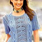 Голубой женский вязаный узорчатый пуловер