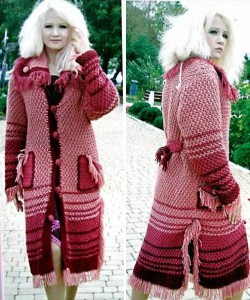 Вязаное пальто с карманами