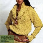 Женский желтый пуловер с широкой резинкой