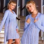 Голубые вязаные пальто, платье и болеро