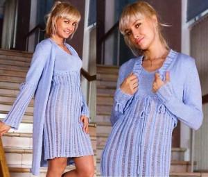 Голубое вязаное пальто, платье и болеро