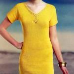 Желтое платье с ажурной горловиной