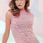 Розовая женская вязаная безрукавка