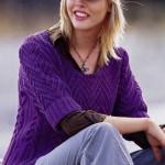 Узорный пуловер с короткими рукавами