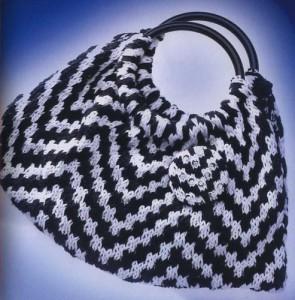Вязаная Черно-белая сумка