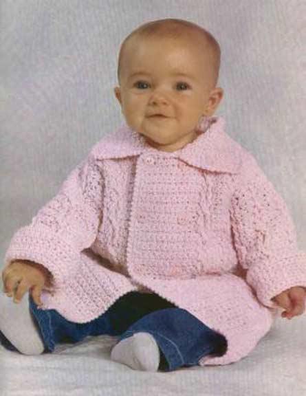 розовое вязаное пальто для малыша крючком вязание спицами и