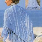 Голубая вязаная шаль и сумка