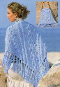 Голубая шаль и сумка
